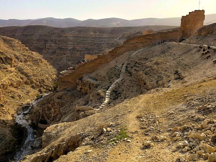 Desert Judea Travel Hiking Adventure Monastery Christianity Ancient History Architecture  photo