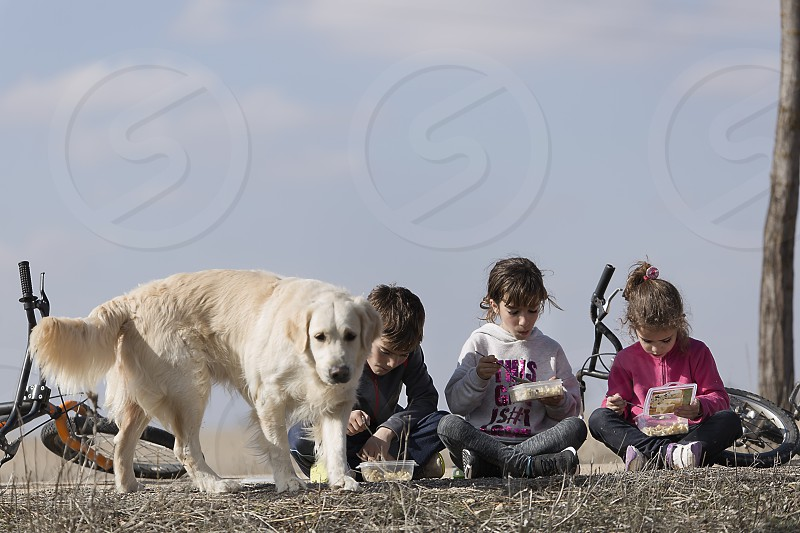 Three children sitting on floor taking outdoor snack with their dog. Horizontal shot with natural light photo