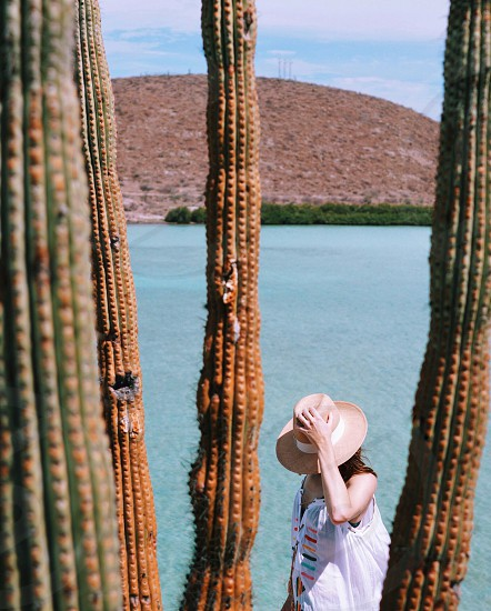 woman in a bathing suit and hat walking by cactus around a lake photo