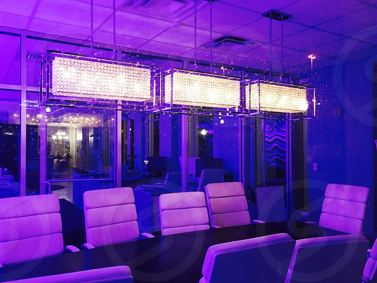 Office lightingultra purple meeting table chairs photo