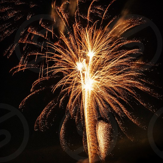 yellow orange gold fireworks in black sky photo