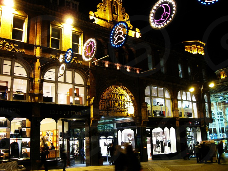 United Kingdom Yorkshire Leeds. The County Arcade decked out with Christmas lights. photo