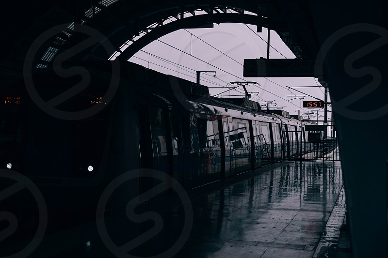 Delhi Metro station. Delhi Metro network consists of six lines with a total length of 189.63 kilometres (117.83 mi) with 142 stations. photo