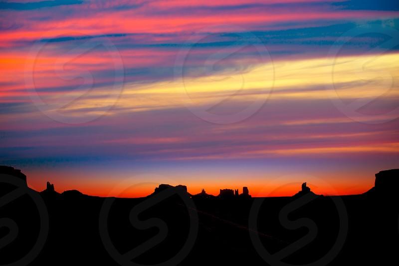 Sunrise on US 163 Scenic road to Monument Valley Park Utah photo