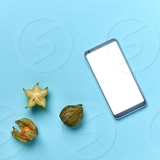 Mobile phone and exotic fruits on a blue background with space for text. The concept of shopping in an online store. Flat lay photo