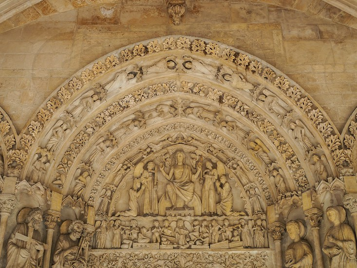 View of the Entrance Archway to the Basilica  St Seurin in Bordeaux photo