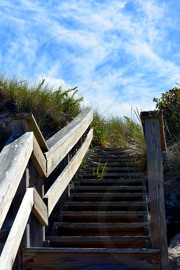 Outdoors beach stairs sky adventure climb uphill explore nature photo