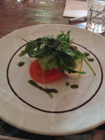 green vegetable dish on white dinner plate photo