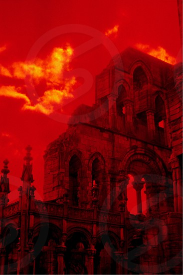 Ruined Scottish cathedral captured with polarizer and red filters photo