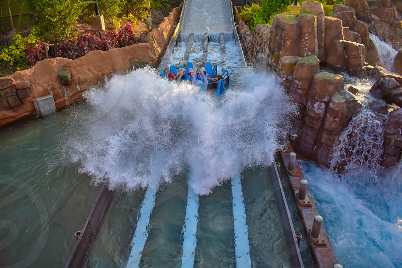 Orlando Florida. January 20 2019 People having fun river attraction ride Infinity Falls at Seaworld Marine Theme Park (6) photo