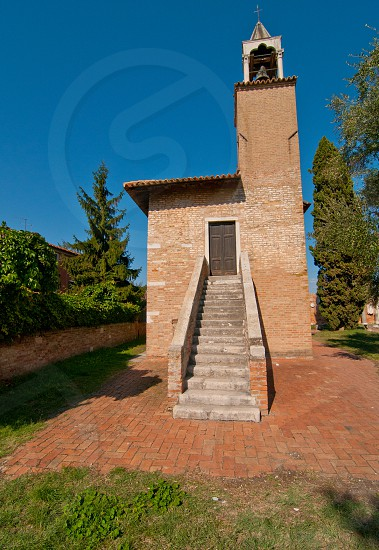 Venice Italy Torcello ancient  belltower with staircase view photo