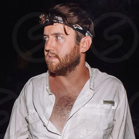 mens white columbia button up shirt photo