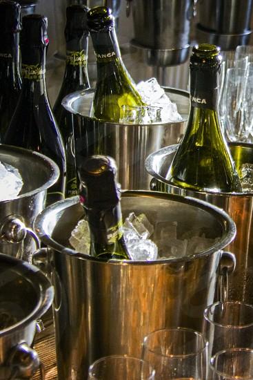 stainless steel ice bucket with wine bottle photo