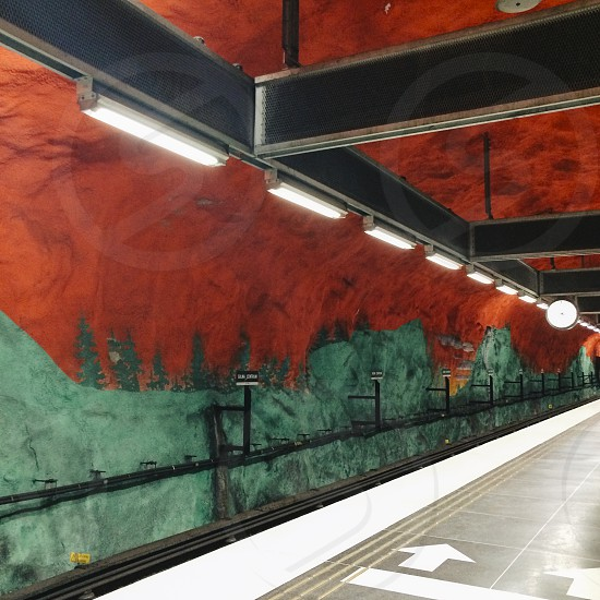 stockholm sweden train station underground art red green swedish railway metro Solna Centrum photo