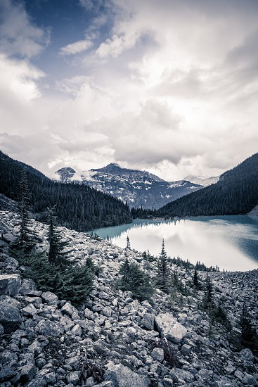 Mountain view of Mount Cayoosh and Upper Joffre Lake  in British Columbia Canada photo
