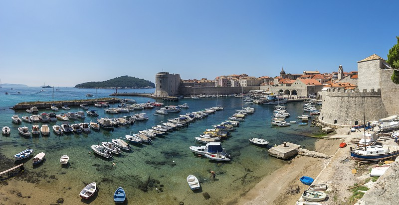 Panoramic view of the Old Port in Dubrovnik Croatia  in a sunny summer day photo