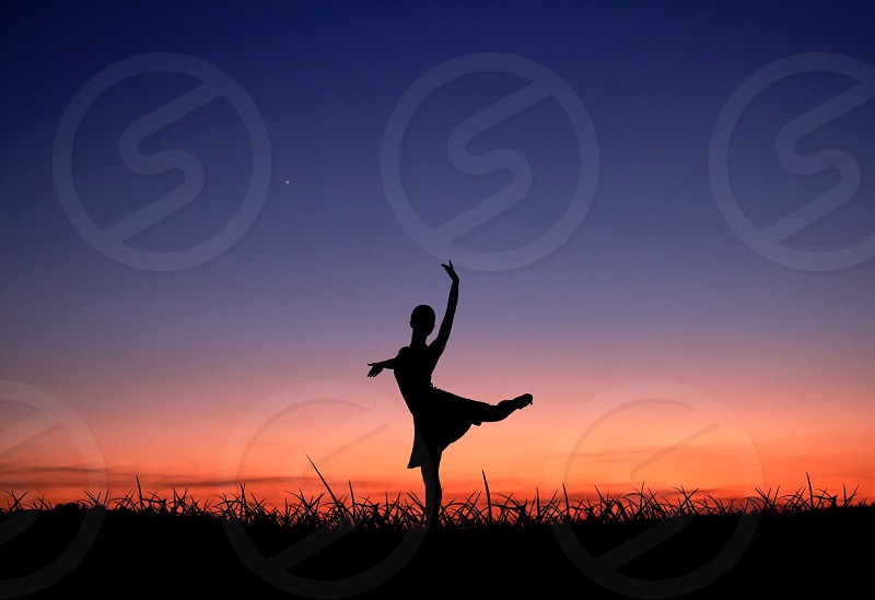 Acrobatic Dance Pose  Dawn Dusk  Leisure Activities  Nature  Outdoors  Red Sky Silhouette  Sky  Stretch  Sun  Sunlight Sunrise Sunset art  dance  dancing  field  girl grass people  person  plant  silhouette  sundown  sunset photo