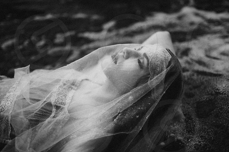 woman in veil and dress black and white photography photo