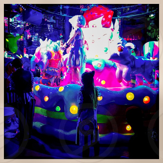 Indoor day colour square filter Harajuku Tokyo Japan east eastern Far East far eastern Orient city urban buildings architecture detail travel tourism tourist wanderlust kawaii Kawaii Monster Cafe colourful bright vibrant vivid dining fun crazy fantasy merry-go-round performance show photo