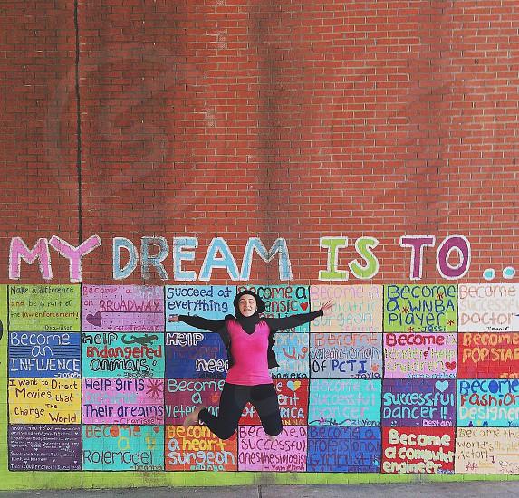 printed red brick wall photo