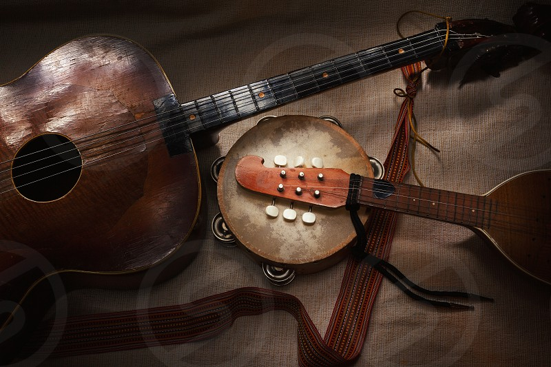 Original Balkan string and percussion instruments part of Serbian Croatian and Hungarian tradition and folklore.  photo