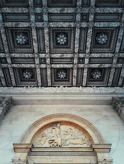 Beautiful ceiling above the entrance of the Fitzwilliam Museum Cambridge United Kingdom. photo