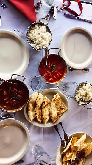 Indian Food Chicken photo aesthetic Rice NaamBread  photo