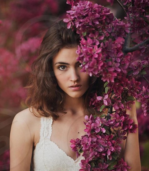 Spring flowers blossoms pink white lace woman girl dress springtime summer summertime magenta nature focus beautiful love cute photo