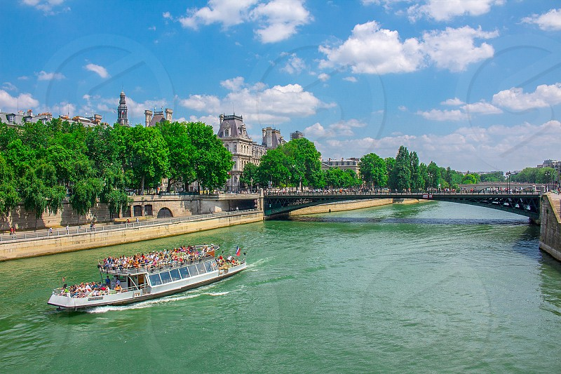 A Beautiful shot from above the river Seine in the heart of Paris. photo