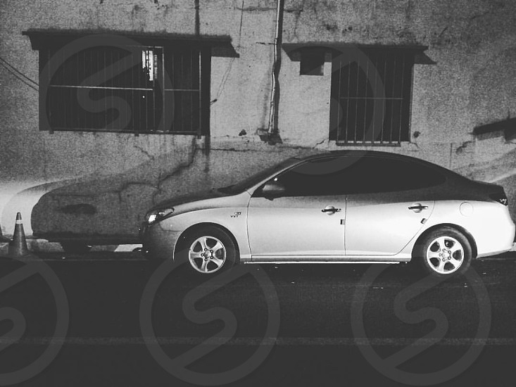 Car drive street travel black and white black & white  photo