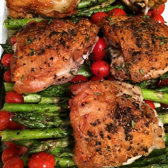 roasted chicken and asparagus photo