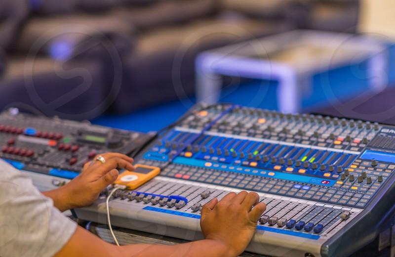 Sound Engineer at work. photo