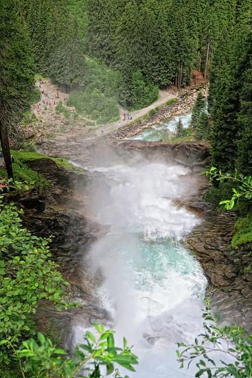 Krimml Tirol/ AUSTRIA July 29 2016: People visiting Krimml waterfalls in high tauern national park (Austria). HDR image. photo
