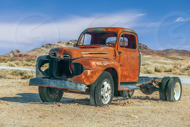 Old rusty pick-up truck in Rhyolite ghost town. Nevada. USA photo