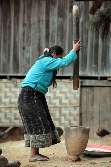 a farmer Women near the Village of Muang Phou Khoun on the Nationalroad 13 on the way from Vang Vieng to Luang Prabang in Lao in southeastasia. photo