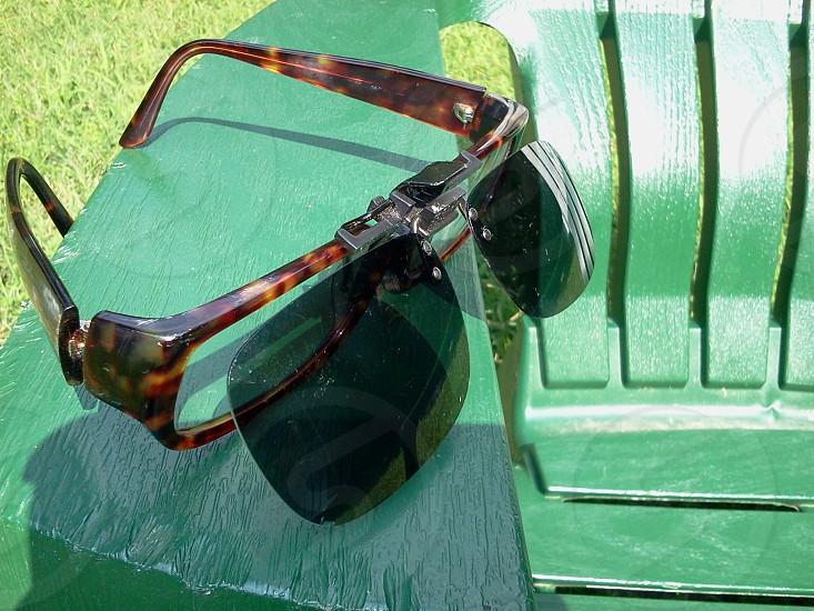 tortoise shell glasses with attachable black  lenses photo