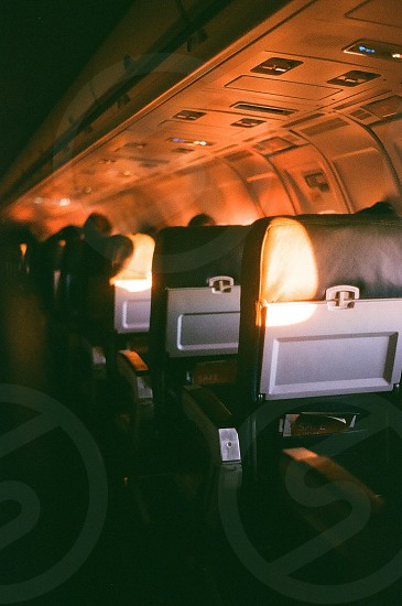 black leather air plane seats photo