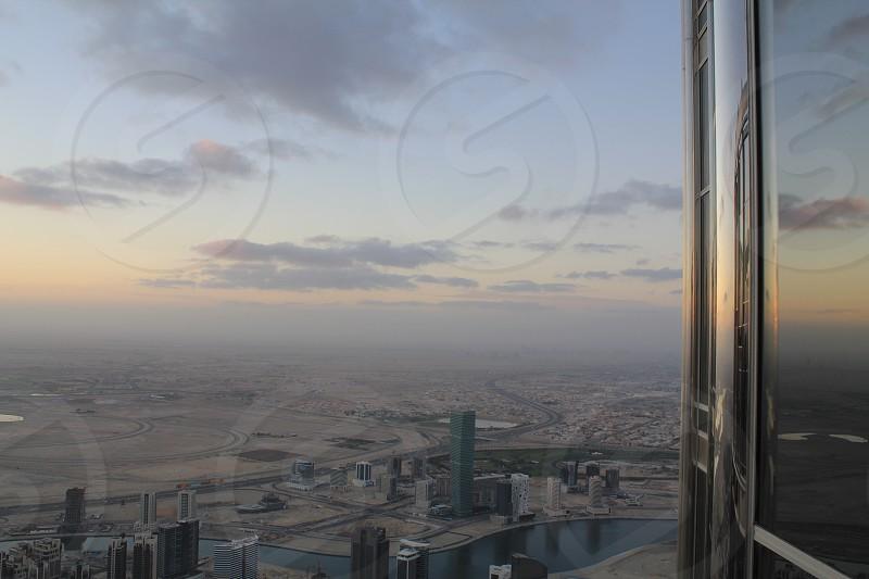 Sunrise and city skyline photo