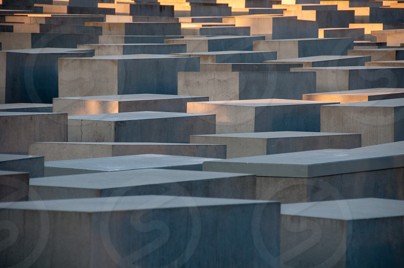 Berlin Germany - May 10 2016: The Holocaust memorial in Berlin was erected to remember the atrocities in German camps of death during WWII photo