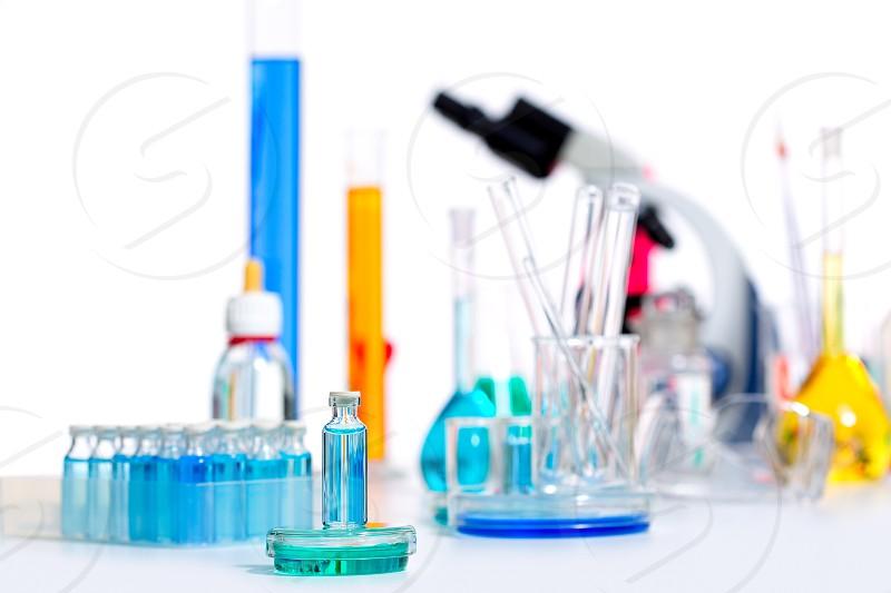 Chemical scientific laboratory stuff microscope test tube flask pipette photo