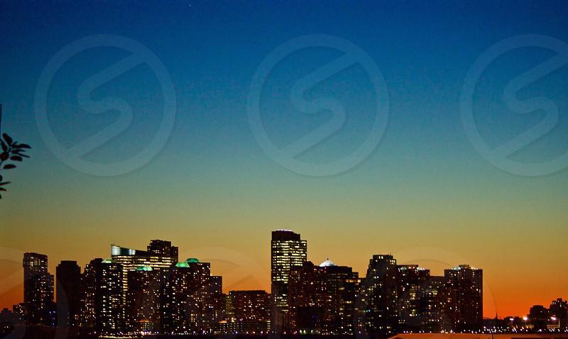 New York City skyline at sunset photo