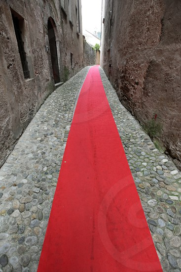 europe italy piemont north italy town old town village street way red carpet photo