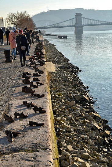 Shoes on the Danube bank. photo