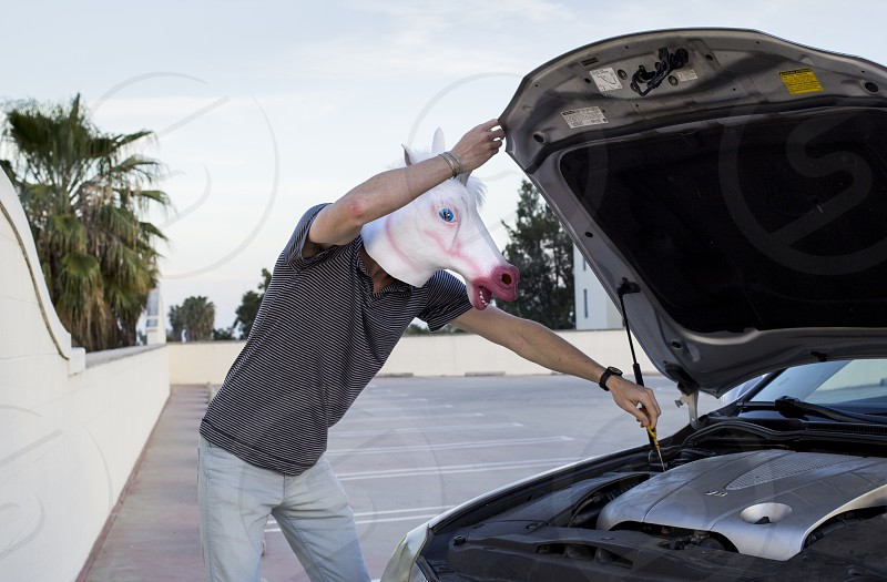 man in gray t shirt wearing white horse mask while fixing a car photo