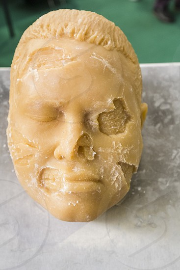 Bologna BO Italy - April 3 2016: During a trade fair for medical products is used a fake rubber face to simulate facial reconstruction operations. ---- Face used to simulate facial reconstructions. photo