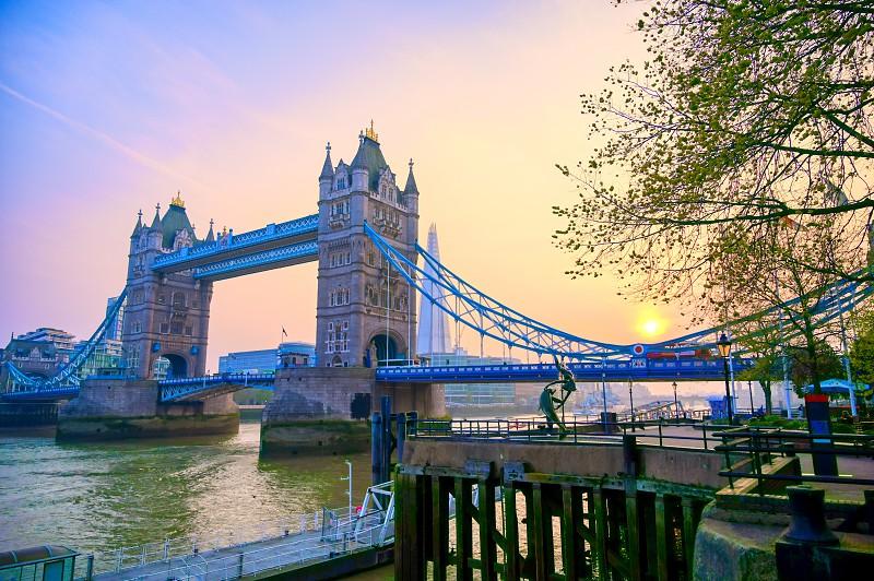 Tower Bridge across the River Thames in London UK. photo