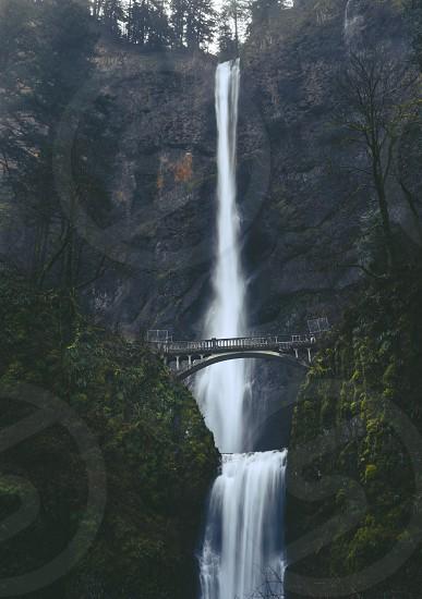 Multnomah Falls Oregon. Waterfall. Stone bridge. photo