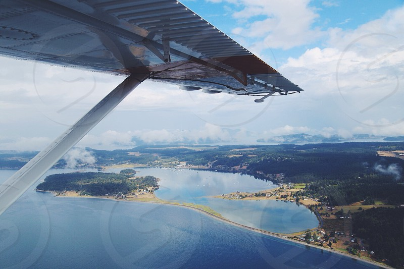 Looking down at the San Juan Islands from a seaplane.  photo