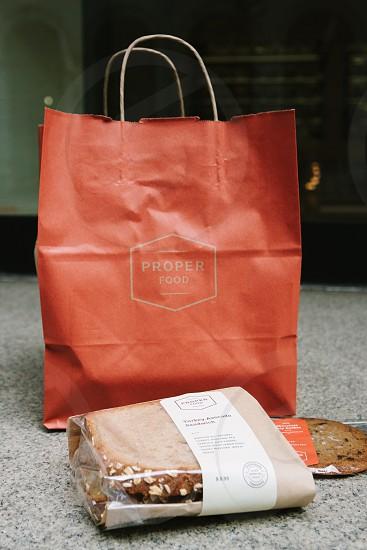 proper food shopping bag on floor near food pack photo