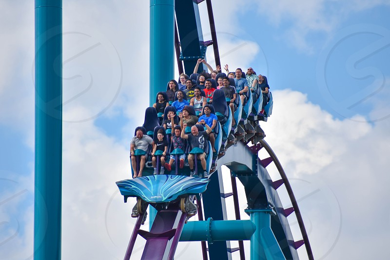 Orlando Florida . February 17  2019 Ride Mako a hyper coaster known for high speeds deep dives and thrills around every turn. at Seaworld (9) photo